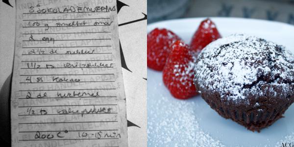 håndskrevet oppskrift og sjokolademuffin