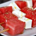 Vannmelon- og fetaspyd
