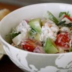 Restesalat med reker og pasta