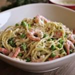 Spaghetti med reker og dillsaus