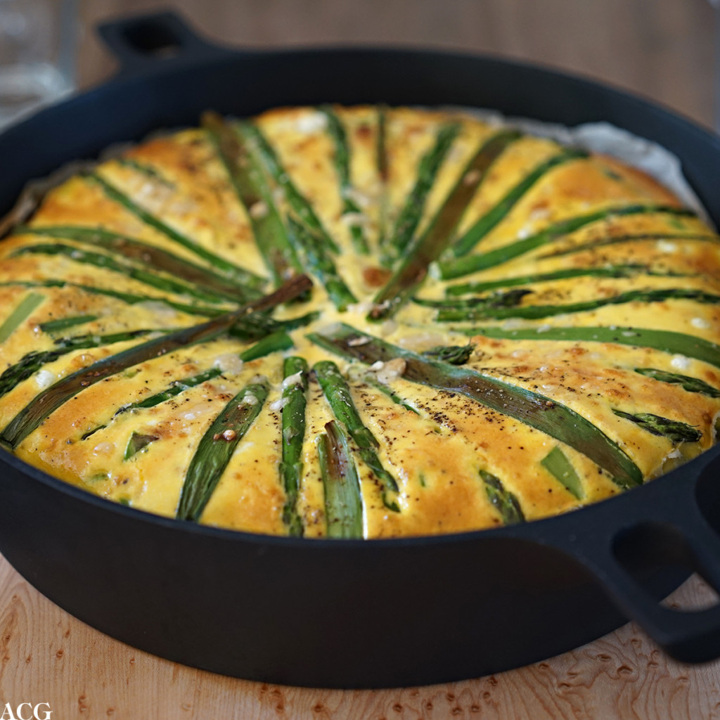 Aspargespai med vårløk og ost