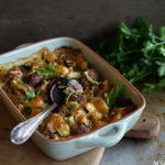 Grateng med kjøttboller og pasta