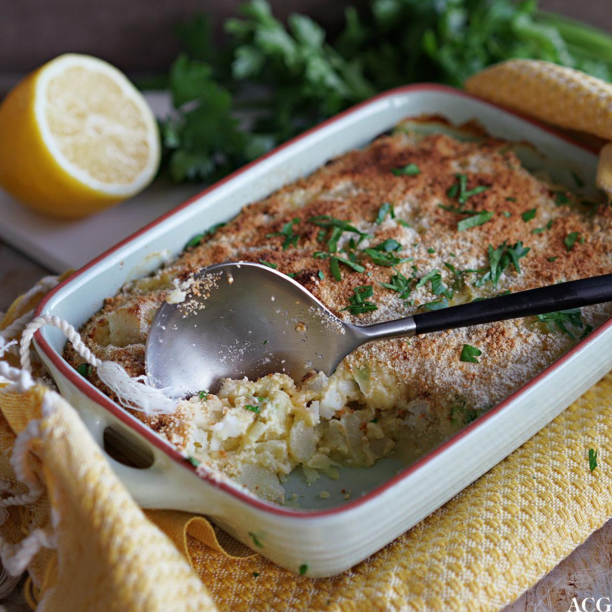 hjemmelaget fiskegrateng med poteter
