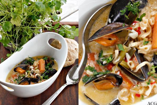 2 bilder av asiatisk blåskjellsuppe