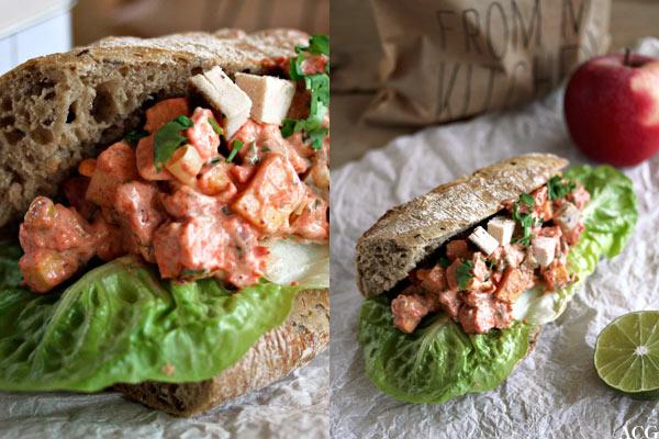 2 bildet av tandoori sandwichsalat