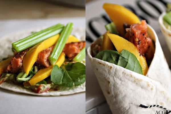 to bilder av wraps med laks og mango