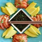 Sashimi med ponzusaus og mango