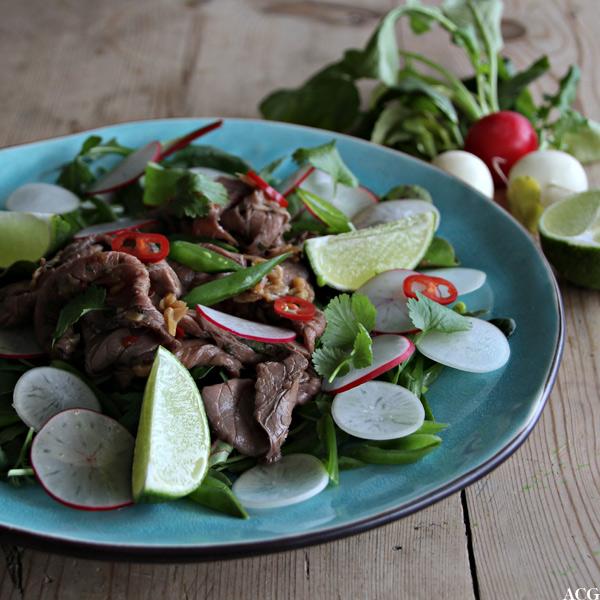tallerken med fargerik salat med roastbiff og reddiker