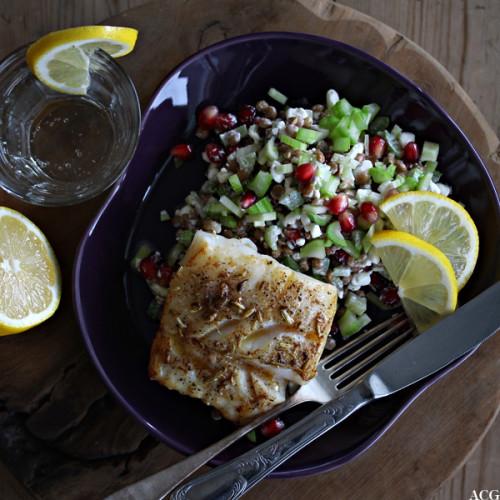smørstekt torsk og linsesalat