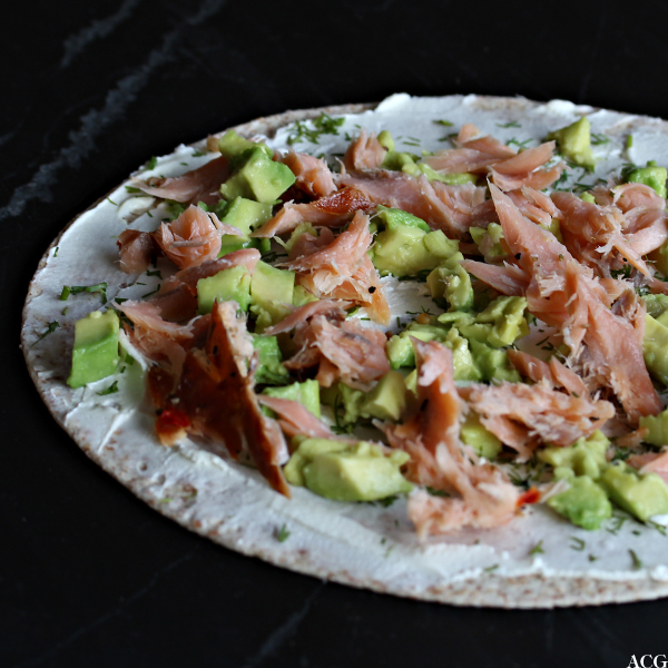 tortillalefse med avokado, Snøfrisk og laks