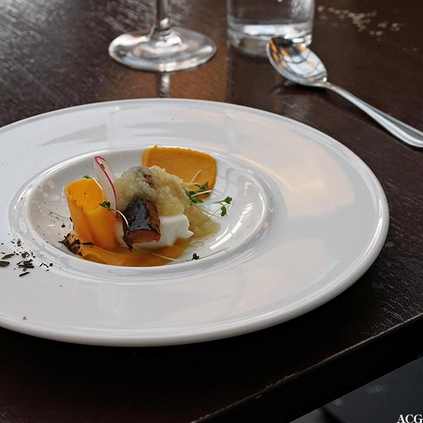 Kveite sous vide med gresskarkrem, karamellisert gulrot, eplepuré og syltet reddik