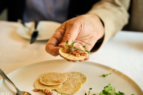 Tatar av kje med speltlompe, aspargesmajones, vassarve og skvallerkål
