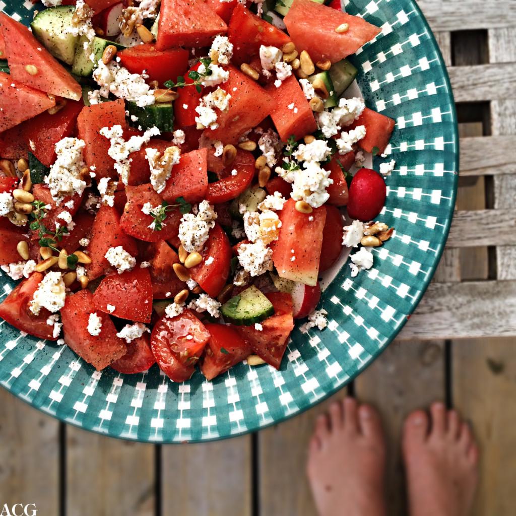 Sommersalat med vannmelon