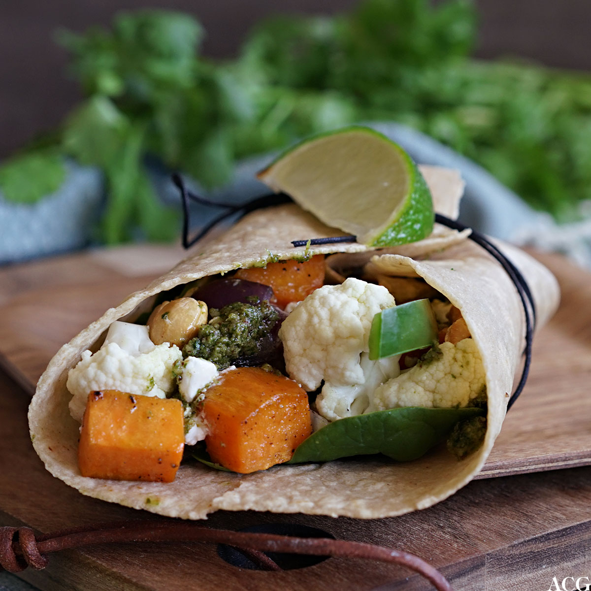 Wraps med søtpotet og cottage cheese