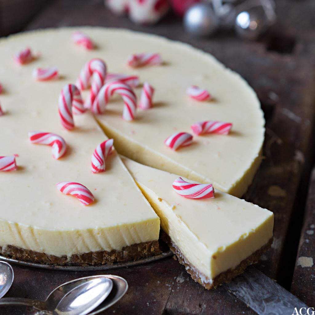 ostekake til jul med pepperkakbunn og klementinsmak