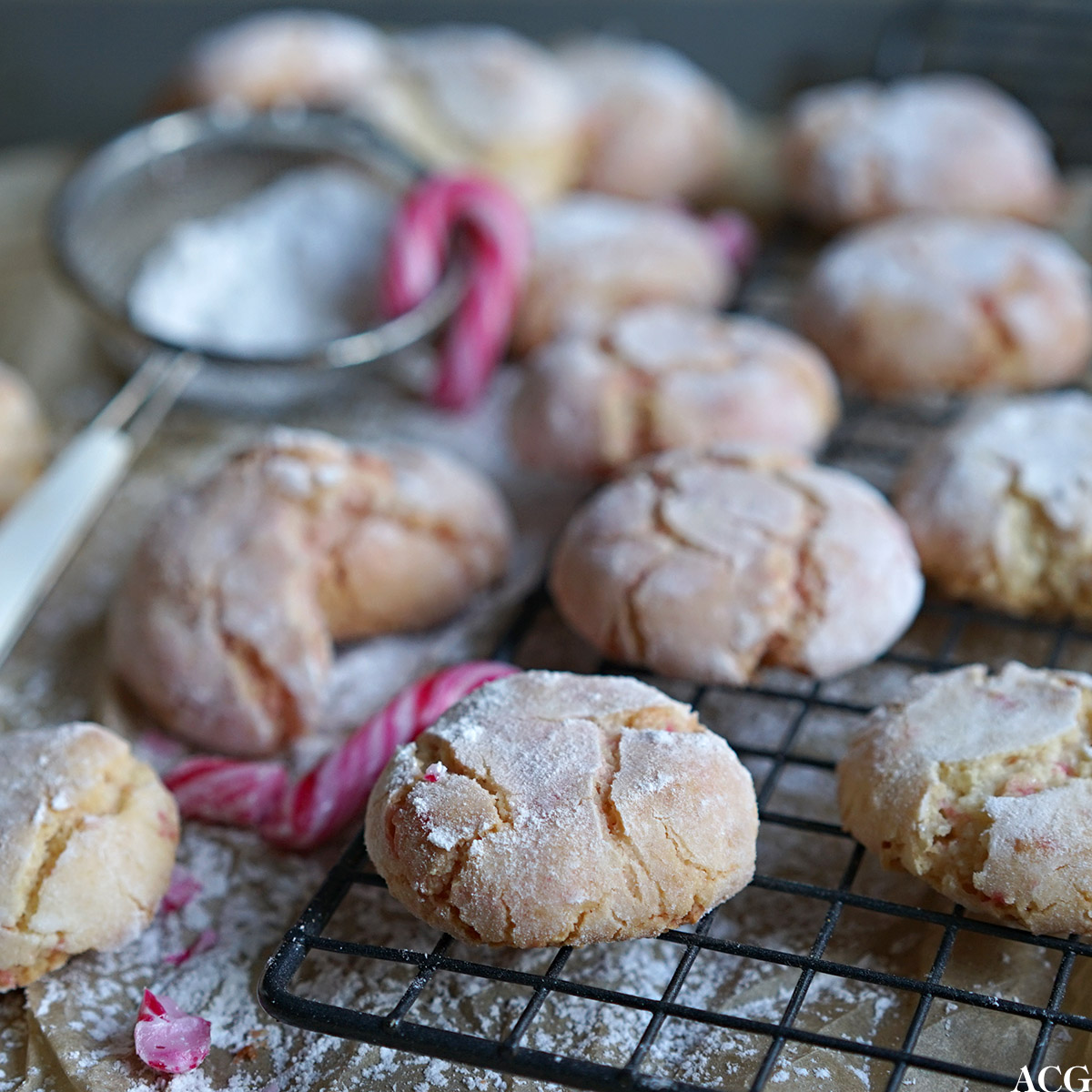 crinkle cookies med peppermyntesmak
